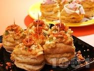 Парти хапки от бутер тесто с грахова паста на фурна